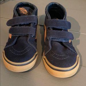 Vans navy and brown high top sneakers